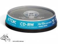 Диски CD-RW TDK 10шт 4х-12x 700Mb 80 мин