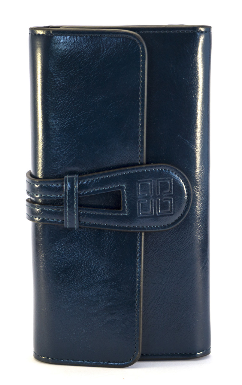 Синий тройной женский кошелек с картхолдером на застежке FUERDANNI art. 1025A