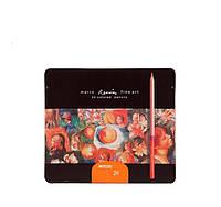 Карандаши цветные FineArt-24TN  24 цвета  Металлическая коробка Кедр