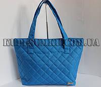 Молодежная голубая сумка из плащевки стеганная Gucci