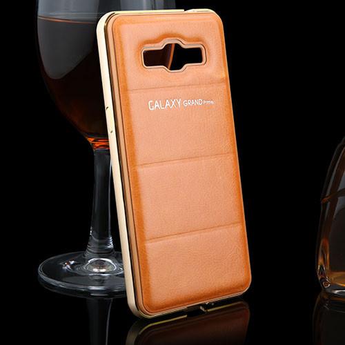 Металлический бампер для Samsung Grand Prime G530 G531 с кожаной накладкой