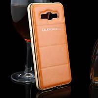 Металлический бампер для Samsung Grand Prime G530 G531 с кожаной накладкой, фото 1