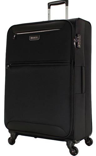 Черный тканевый качественный чемодан-гигант 4-колесный 104/117 л. March Flybird 2451/07