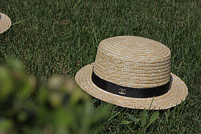 Шляпка канотье с брошкой шанель, фото 2