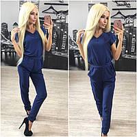 Женский стильный комбинезон брюками с пояском + (Большие размеры)