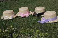 Шляпка канотье с двойным обьемным бантиком