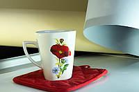 Чашка керамическая квадратная Мак, деколь
