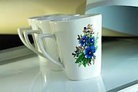 Чашка керамическая квадратная Незабудки, деколь