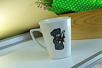 Чашка керамическая квадратная Мишка, деколь