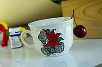 Чашка керамическая Мечта, деколь Мишка с цветами