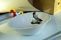 Миска керамическая белая с деколью Панда