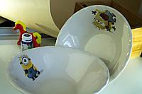 Миска керамическая белая с деколью Миньоны