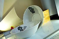 Миска керамическая белая с деколью Мишки
