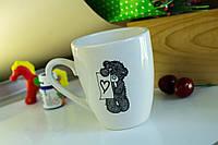 Чашка керамическая Европа, деколь Мишка с сердцем