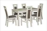 Стол для кухни деревянный раскладной Модерн 140(+40)х80х75 см (белый,бежевый)