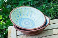Миска керамическая, голубая глазурь