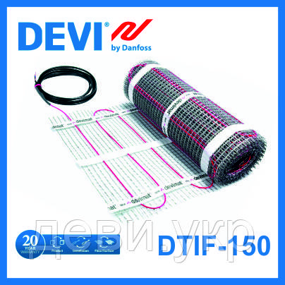 Нагревательный мат DEVI с тефлоновой изоляцией двухжильный 0,5 м.кв.