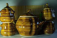 Набор керамический Тополек, супник и 4 горшочка