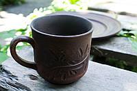 Чашка глиняная большая, декор