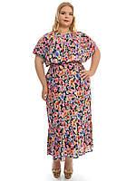 Нарядное летнее платье больших размеров,ткань штапель,модель ДК 607
