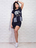 Летний женский комплект с футболкой и шортами
