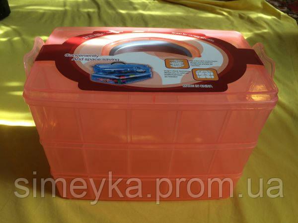 Органайзер-чемодан большой для фурнитуры 3 яруса (30 ячеек) с ручкой, цвет персиковый
