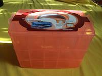 Органайзер-чемодан большой для фурнитуры 3 яруса (30 ячеек) с ручкой, цвет персиковый, фото 1