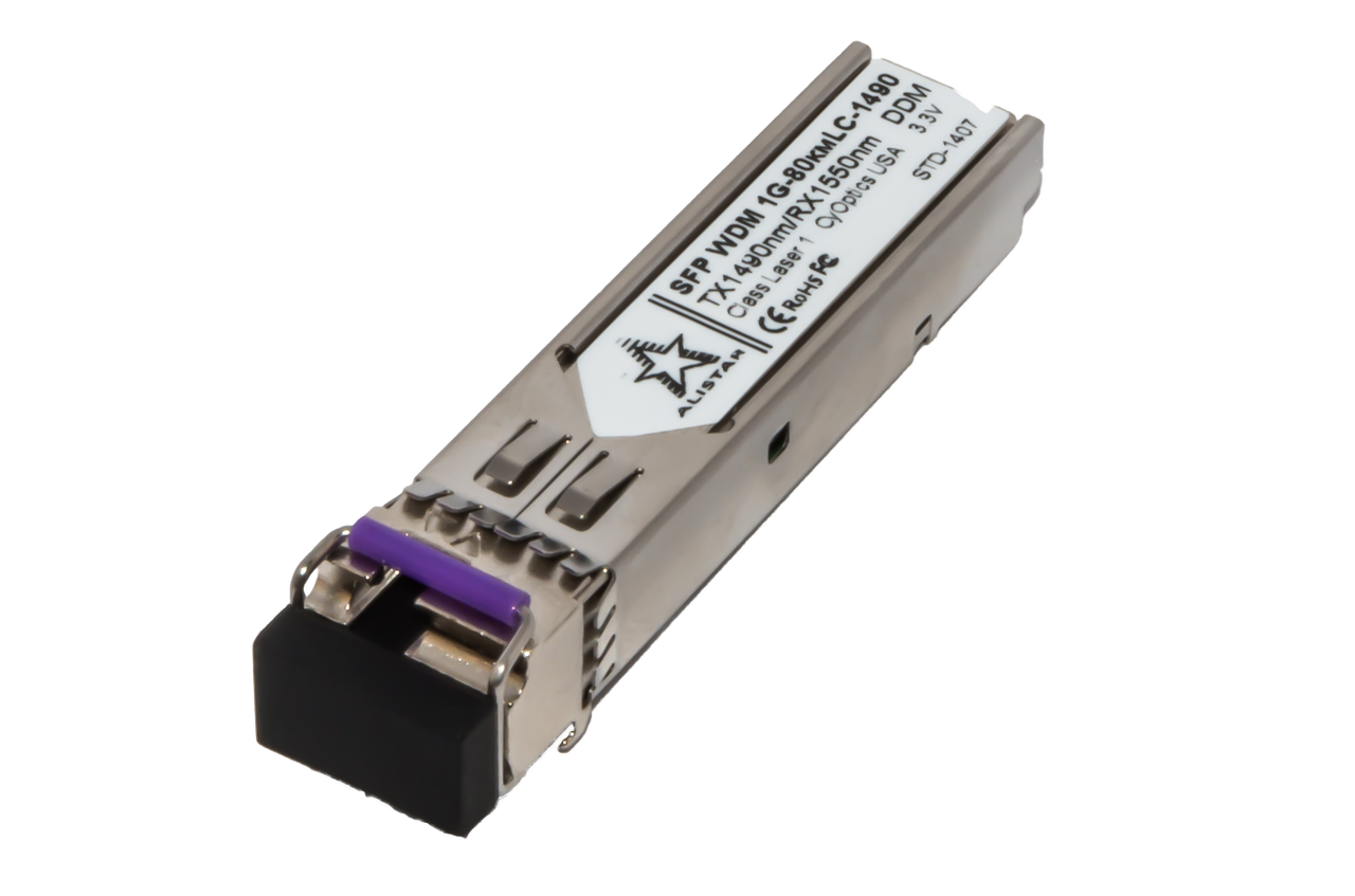 Оптический модуль SFP WDM 1G - 80км LC - TX1490nm/RX1550nm с DDM