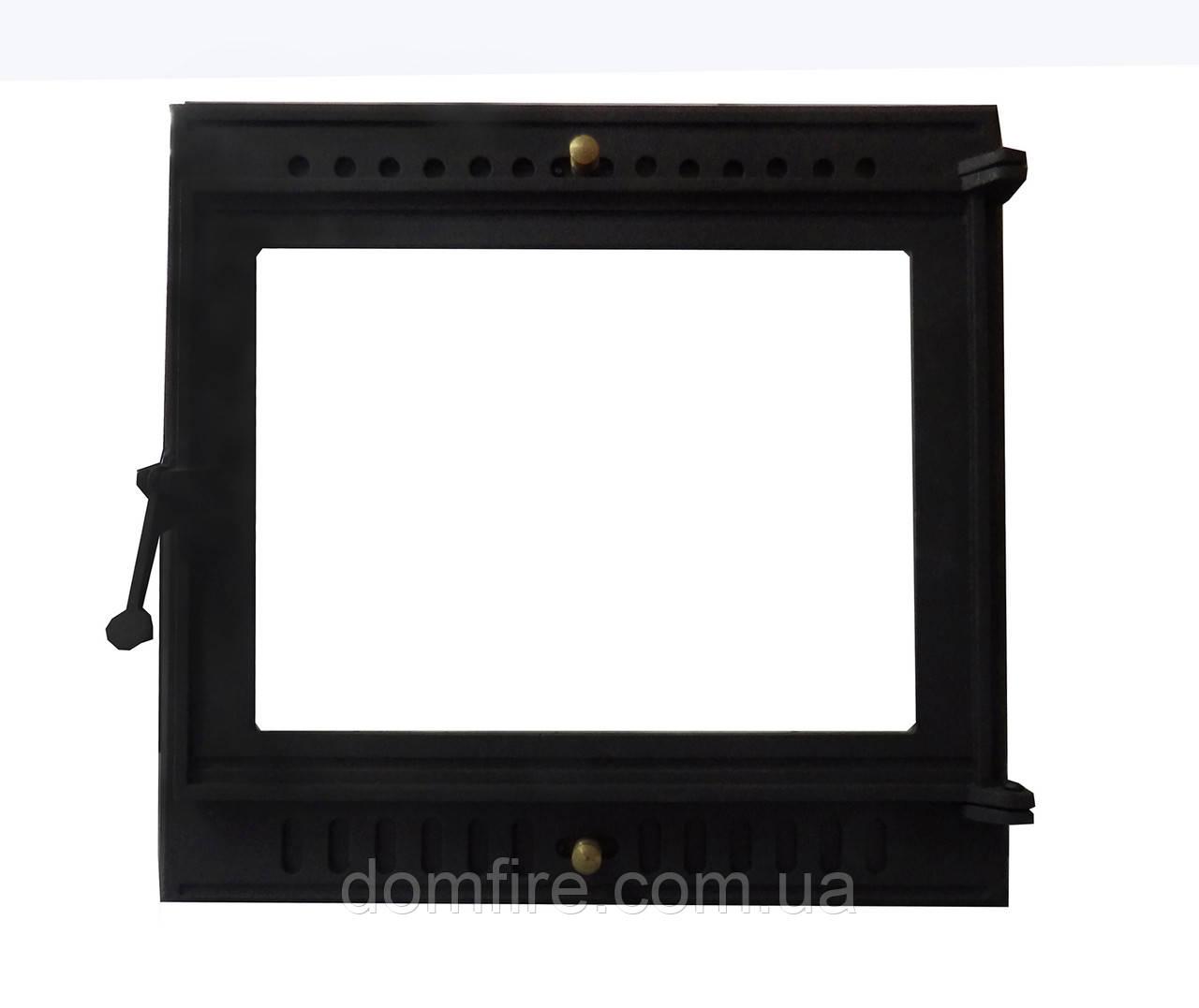 Чугунная каминная дверца (вставка стекло) - VVK 48x46,5 см-44x42см - Domfire - тепло в Вашем доме в Ужгороде
