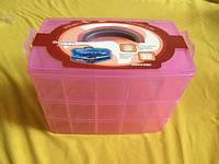 Органайзер-чемодан средний для фурнитуры 3 яруса (30 ячеек) с ручкой, цвет розовый