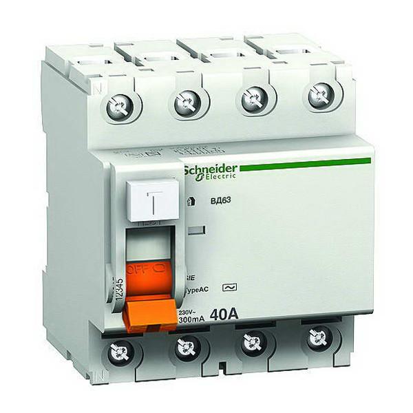 Дифференциальный выключатель Schneider Electric ВД63 4P 40А 30мА 11463