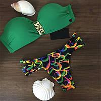 Купальник бандо цепи зеленый