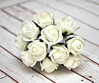Букет роз из фоамирана, 1,5 см, 12 шт, белые