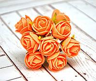 Букет роз из фоамирана, 1,5 см, 12 шт, светло-оранжевые