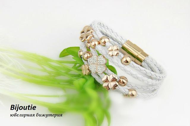 Браслет ювелирная бижутерия кожа декор золото 18К и кристаллы Swarovski