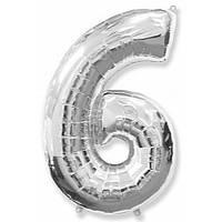 """Цифра """"6"""" серебро 102 см ГЕЛИЙ фольга  на День Рождения шарик с гелием цифра  """"1"""" серебро  на День Рождения"""