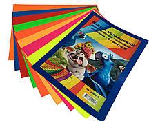 Картон цветной двусторонний неоновый А4/250г (8 цветов) для детского творчества