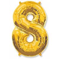 """Цифра """"8"""" золото 102 см ГЕЛИЙ фольга  на День Рождения"""