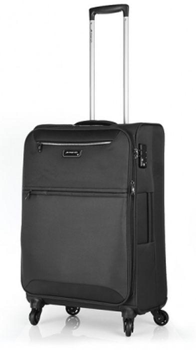 Черный 4-колесный практичный средний чемодан 69/80 л. March Flybird 2452/07