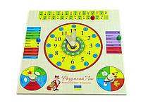 Деревянная игрушка досточка Часы и Календарь