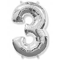 """Цифра """"3"""" серебро 102 см ВОЗДУХ фольга  на День Рождения шарик с гелием цифра  """"1"""" серебро  на День Рождения"""