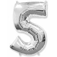 """Цифра """"5"""" серебро 102 см ВОЗДУХ фольга  на День Рождения шарик с гелием цифра  """"1"""" серебро  на День Рождения"""