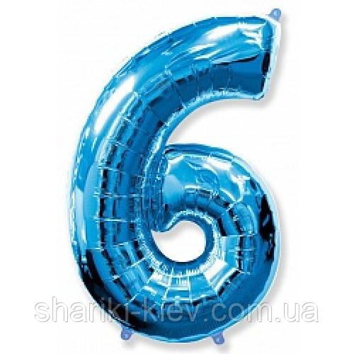 """Цифра """"6"""" синяя 102 см ВОЗДУХ фольга  на День Рождения"""