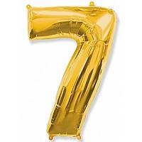 """Цифра """"7"""" золото 102 см ВОЗДУХ фольга  на День Рождения"""
