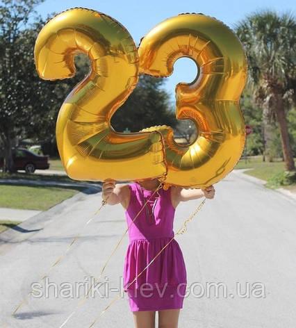 """Цифра """"9"""" синяя 102 см ВОЗДУХ фольга  на День Рождения, фото 2"""