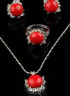 Комплект украшений Коралл серьги, подвеска и кольцо код 018