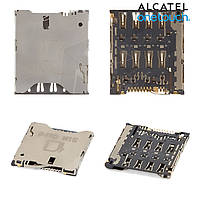 Коннектор SIM-карты для Alcatel One Touch 8000 Scribe Easy, оригинал