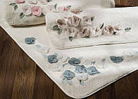Коврик для ванной комнаты хлопок/бамбук Adney blue 70*120 белый.