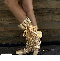 Бежевые нежные летние гипюровые красивые ажурные женские сапожки (золото). Арт-0037, фото 1
