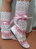 Летние стильные кружевные сапожки из макраме, полосатики (розовые). Арт-0042
